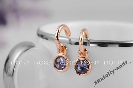 Серьги Lovely Purple Roxi покрытие золотом