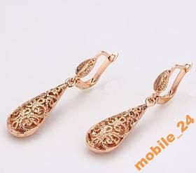 Сережки Ажурні Roxi 18К покриття золотом