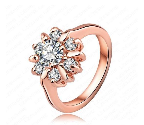 Кольцо с иск. бриллиантом 18K покрытие золотом