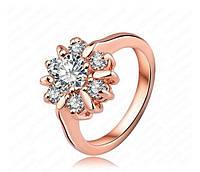 Кольцо с иск. бриллиантом 18K покрытие золотом, фото 1