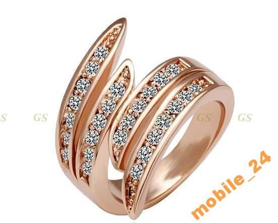 Кільце з кристалами Swarovski Rose Gold 18К