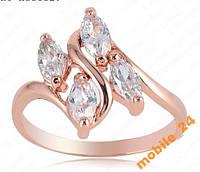 Кольцо с иск бриллиантом Покрытие золотом 18K, фото 1