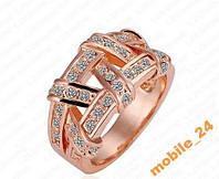 Кольцо с кристаллами 18К покр Rose Gold, фото 1