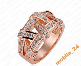 Кольцо с кристаллами 18К покр Rose Gold
