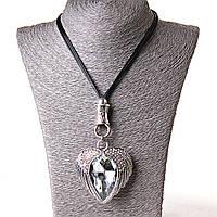 [60/55 мм] Ожерелье Сердце крылья огромный камень Silver , фото 1