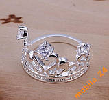 Кольцо с кристаллами Сrown&Queen Серебро 925, фото 2
