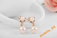 Серьги Fashion pearl 18Карат золото Roxi, фото 1