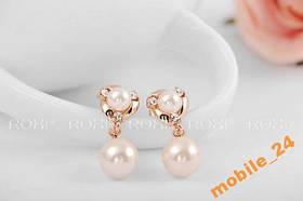 Серьги Fashion pearl 18Карат золото Roxi