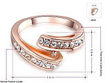 Кольцо Genuine Austrian Crystal покрытие золотом, фото 3