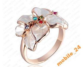 Кольцо White Flower покрытие золотом 18 карат