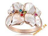 Кольцо White Flower покрытие золотом 18 карат, фото 3