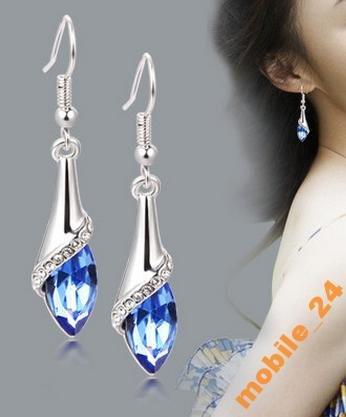 Серьги Blue crystal Покрытие серебром