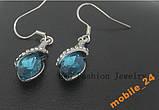 Серьги Blue crystal Покрытие серебром, фото 3