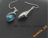 Серьги Blue crystal Покрытие серебром, фото 4