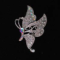 [50/40 мм.] Брошь Крыло Бабочки со стразами Хамелеон, металл Silver