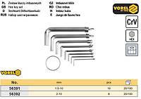 набор ключи шестигранные Польша шестигранки тип L HEX 1,5-10 мм 10 штук VOREL-56391