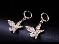 Серьги Fashion Butterfly Cubic Zircon 18K Gold, фото 1