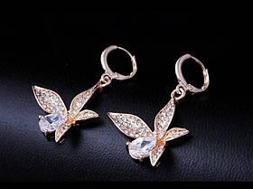 Серьги Fashion Butterfly Cubic Zircon 18K Gold