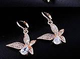 Серьги Fashion Butterfly Cubic Zircon 18K Gold, фото 3