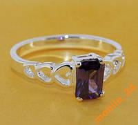 Кольцо с инкрустированным камнем серебро 925 пробы