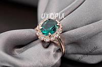 Кольцо Austrian Green Crystal 18K покрытие золотом, фото 1
