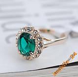 Кольцо Austrian Green Crystal 18K покрытие золотом, фото 2