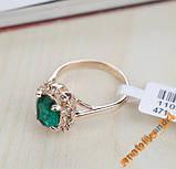 Кольцо Austrian Green Crystal 18K покрытие золотом, фото 3
