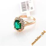 Кольцо Austrian Green Crystal 18K покрытие золотом, фото 4