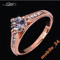 Кольцо с цирконами покрытие золотом 18 карат, фото 1