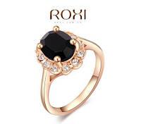 Кольцо Austrian Black Crystal 18K покр золотом, фото 1