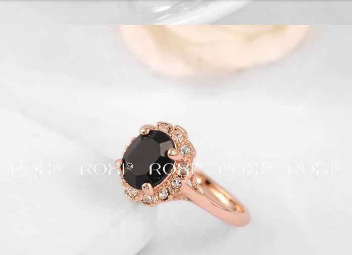 Кольцо Austrian Black Crystal 18K покр золотом