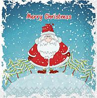 """Салфетка новогодняя Silken  """"Новорічний Санта на гірці"""" 18шт 33*33см"""