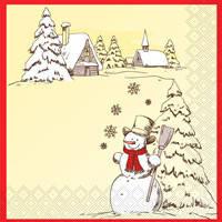 """Новогодняя салфетка Silken """"Новорічний Сніговик"""" 3-сл. 18шт 33*33см"""
