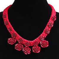 [20/30 мм] Ожерелье красное с розами из полимерной глины