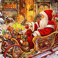 """Новогодняя салфетка Silken """"Новорічний Санта з подарунками"""" 18шт 33*33см"""