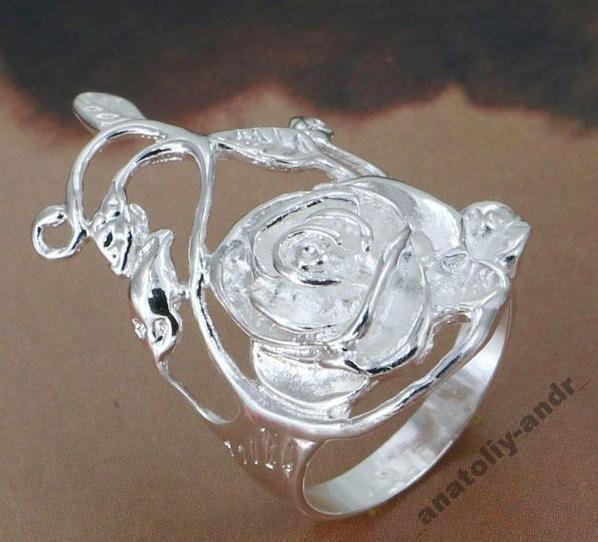 Кольцо Роза Стерлинговое серебро 925