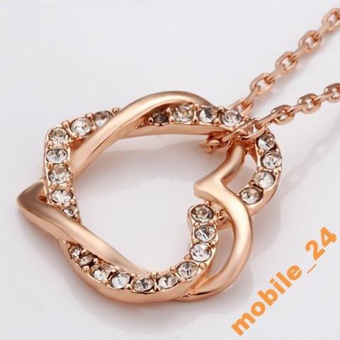 Кулон сердце с цепочкой Покрытие золотом