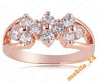 Кольцо с иск. бриллиантом покрытие золотом 18карат, фото 1