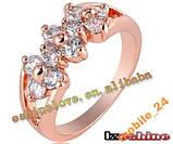 Кольцо с иск. бриллиантом покрытие золотом 18карат, фото 3