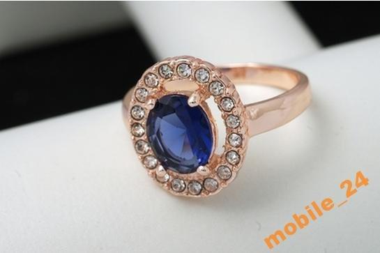 Кольцо с цирконами Blue Shine Покрытие золотом 18K