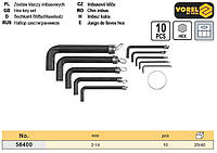 Набір ключ шестигранний тип L HEX 2-14 мм 10 штук VOREL-56400