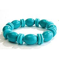 [10 см] Браслет на резинке голубая Бирюза овальные камни со вставками