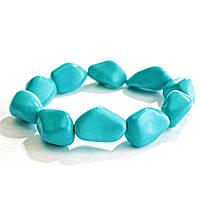 [10 см] Браслет на резинке голубая Бирюза крупные камни