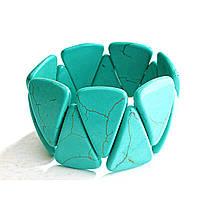 [10 см] Браслет на резинке зеленая Бирюза с прожилками широкий треугольники