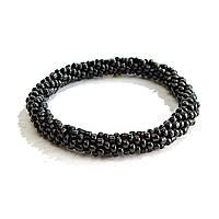 [10 см] Браслет на резинке черный Агат бисер мелкий