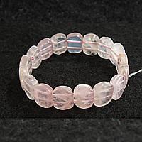 [10 см] Браслет на резинке Розовый Кварц овальные камни