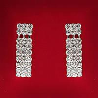 [40 мм] Серьги женские белые стразы светлый металл свадебные вечерние гвоздики (пуссеты) подвески 3 ряда с разделением средние