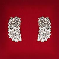 [30 мм] Серьги женские белые стразы светлый металл свадебные вечерние гвоздики (пуссеты) закругленные средние