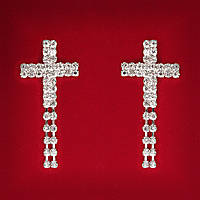 [55 мм] Серьги женские белые стразы светлый металл свадебные вечерние гвоздики (пуссеты) крестик с подвесками