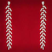 [140 мм] Серьги женские белые стразы светлый металл свадебные вечерние гвоздики (пуссеты) подвески очень длинные дворец императора